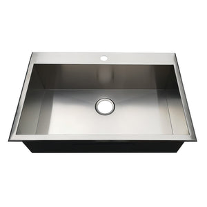 "Uptowne 32"" Drop-In Single Bowl 18-Gauge Kitchen Sink (1 Hole)"
