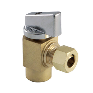 Columbia 1/2-Inch Sweat x 3/8-Inch OD Comp Quarter-Turn Angle Stop Valve