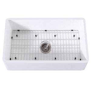 "Arcticstone 33"" x 18"" SGL Bowl Farmhouse Kitchen Sink, Drain & Rack"
