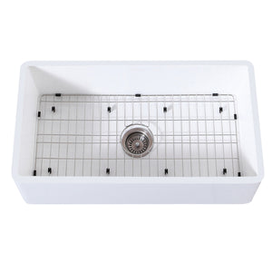 "Arcticstone 36"" x 18"" SGL Bowl Farmhouse Kitchen Sink, Drain & Rack"