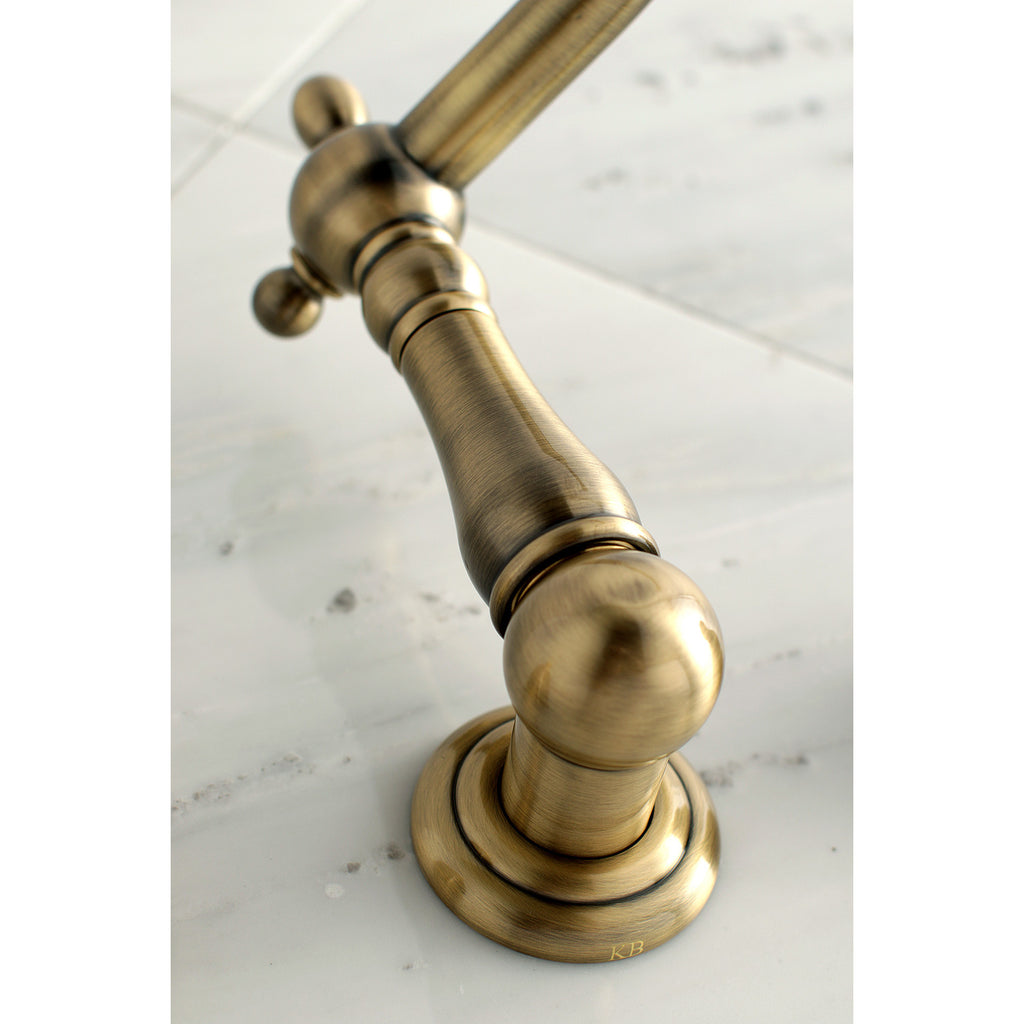 "Heritage Two Handle 8"" Centerset 3-Hole Wall-Mount Roman Tub Filler Faucet w/Metal Lever, 7.0 gpm"