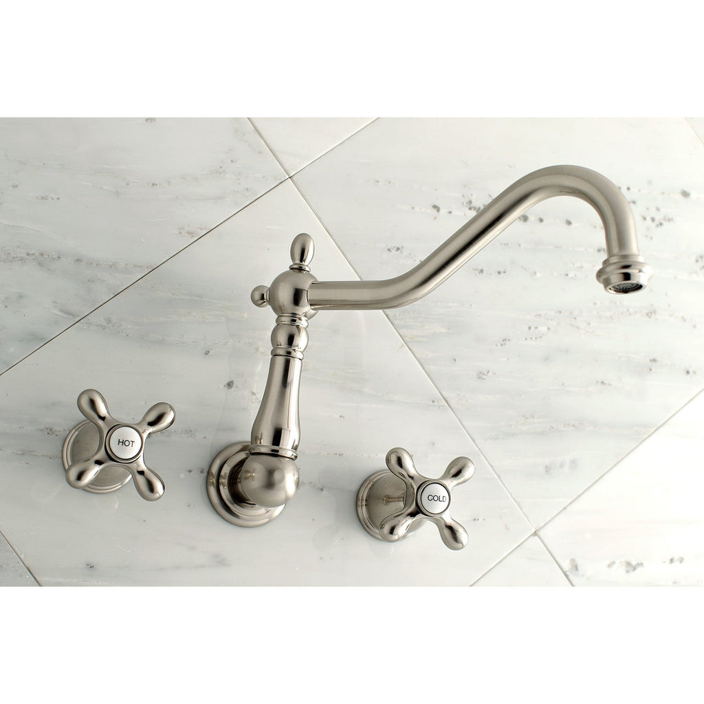 "Heritage Two Handle 8"" Centerset 3-Hole Wall-Mount Roman Tub Filler Faucet w/Metal Cross, 7.0 gpm"