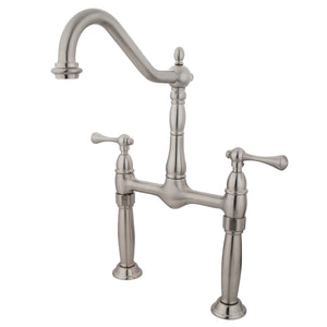 "Victorian Two Handle 8"" Centerset 2-Hole BridgeBathroom Faucet w/Metal Lever, 1.2 gpm"