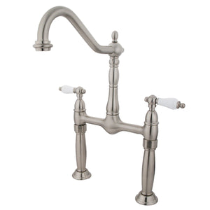 "Victorian Two Handle 8"" Centerset 2-Hole Bridge Vessel Bathroom Faucet w/Porcelain Lever, 1.2 gpm"