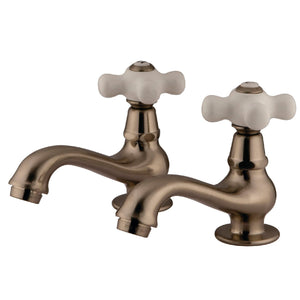 Heritage Two Handle Basin Tap Faucet Set  w/Porcelain Cross, 1.2 gpm