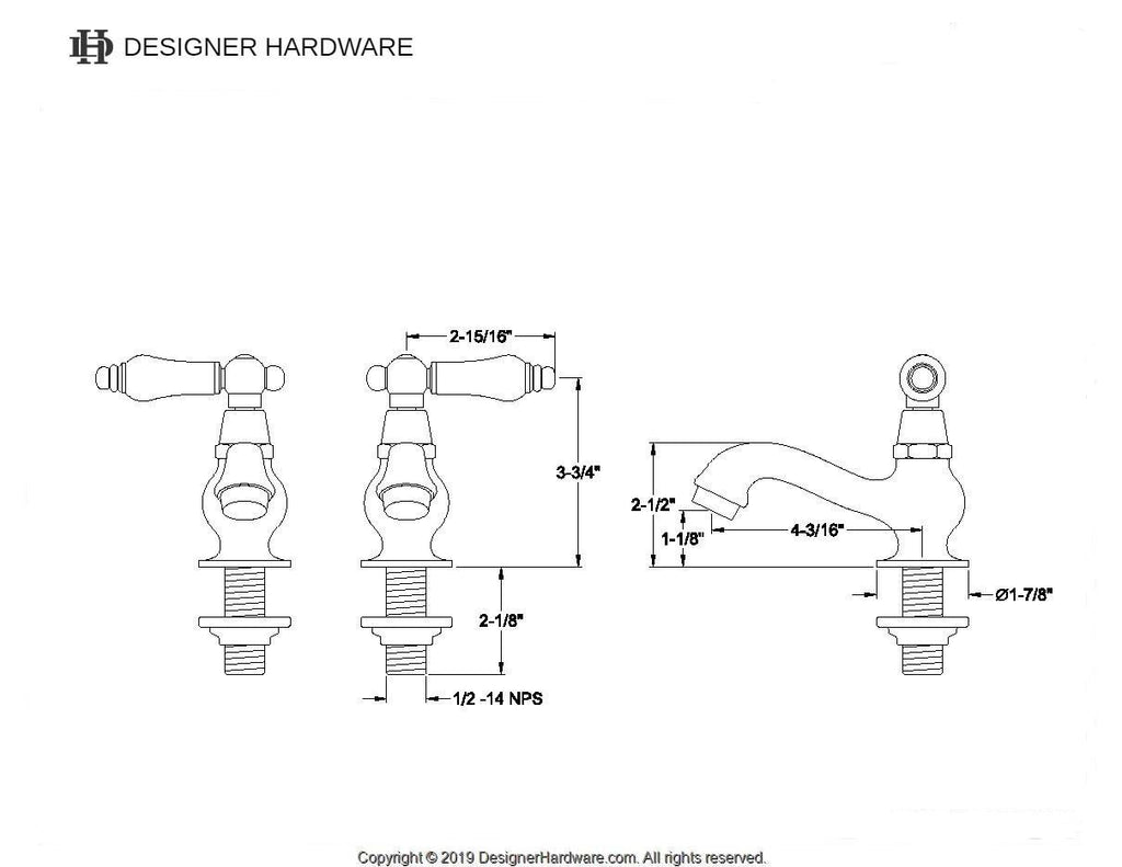 Heritage Two Handle Basin Tap Faucet Set w/Porcelain Lever, 1.2 gpm