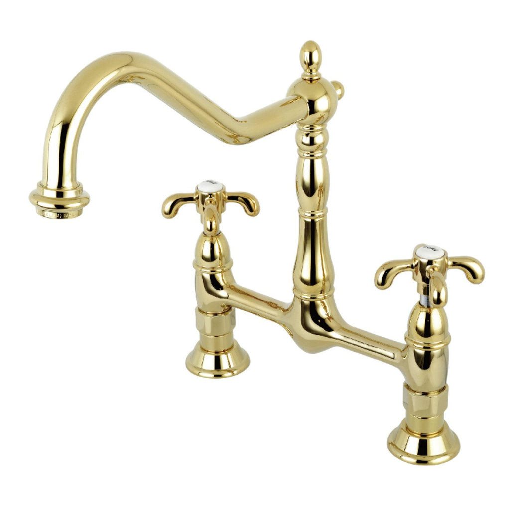 "French Country Two Handle 8"" Centerset 2-Hole Bridge Kitchen Faucet w/Metal Cross, 1.8 gpm"