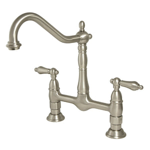"Heritage Two Handle 8"" Centerset 2-Hole Bridge Kitchen Faucet w/Metal Lever, 1.8 gpm"