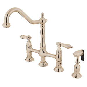 "Heritage Two Handle 8"" Centerset 4-Hole Bridge Kitchen Faucet w/Metal Lever and Matching Side Spray, 1.8 gpm"