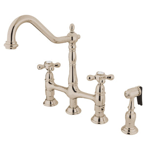 "Heritage Two Handle 8"" Centerset 4-Hole Bridge Kitchen Faucet w/Metal Cross and White Side spray, 1.8 gpm"