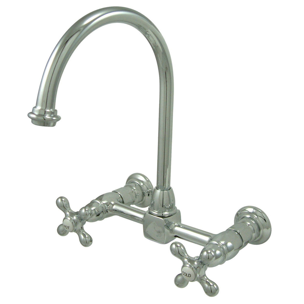 "Restoration Two Handle 8"" Centerset 2-Hole Wall Mount Kitchen Faucet w/Metal Cross, 1.8 gpm"