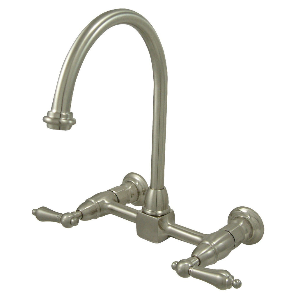 "Restoration Two Handle 8"" Centerset 2-Hole Wall Mount Kitchen Faucet w/Metal Lever, 1.8 gpm"
