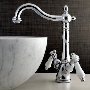 Bel-Air Two Handle 1 or 3-Hole Vessel Sink Bathroom Faucet w/Porcelain Lever and Optional Deck Plate, 1.2 gpm