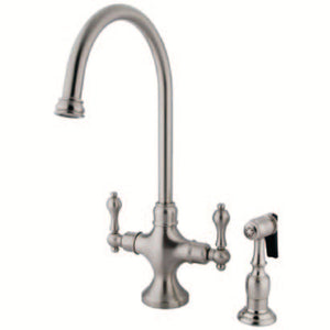 Vintage Two Handle 2-hole Kitchen Faucet w/Metal Lever and Side Spray, 1.8 gpm