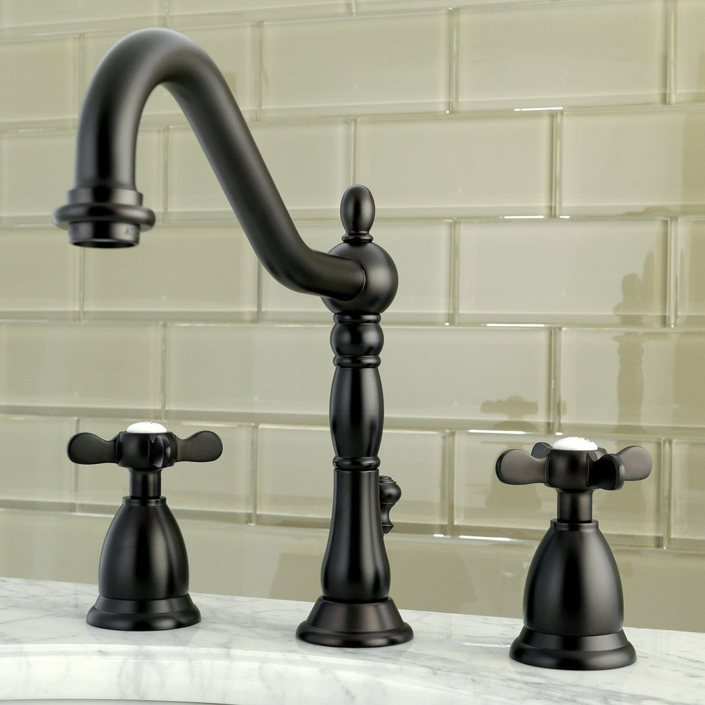 "Essex Two Handle 8-16"" Widespread 3-Hole Bathroom Faucet w/Metal Cross - Includes Pop-Up Drain, 1.2 gpm"