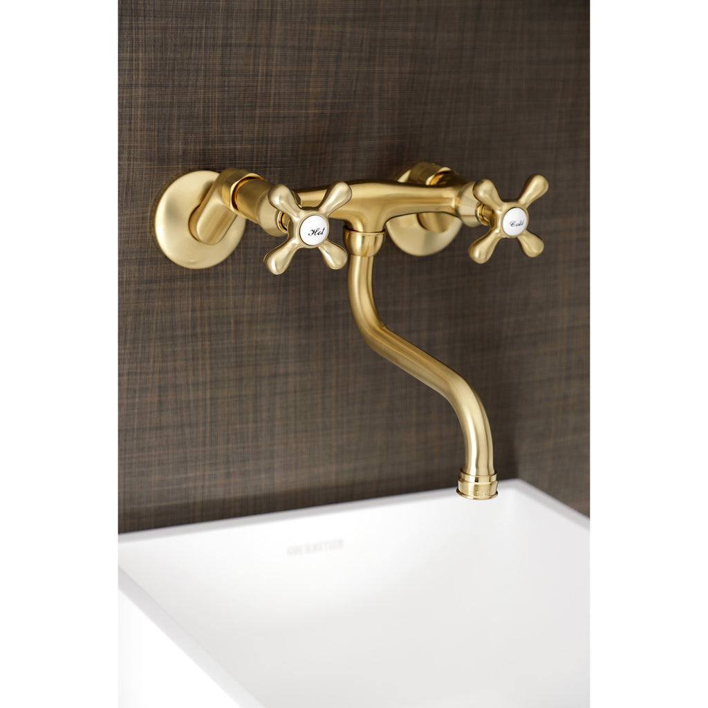 Kingston Two-Handle 2-Hole Wall Mount Bathroom Faucet