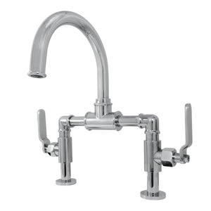 Whitaker Two-Handle 2-Hole Deck Mount Bridge Bathroom Faucet with Pop-Up Drain