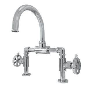 Belknap Two-Handle 2-Hole Deck Mount Bridge Bathroom Faucet with Pop-Up Drain