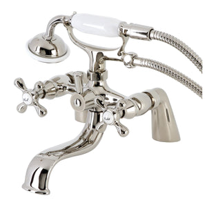Kingston Three-Handle 2-Hole Deck Mount Clawfoot Tub Faucet with Handshower