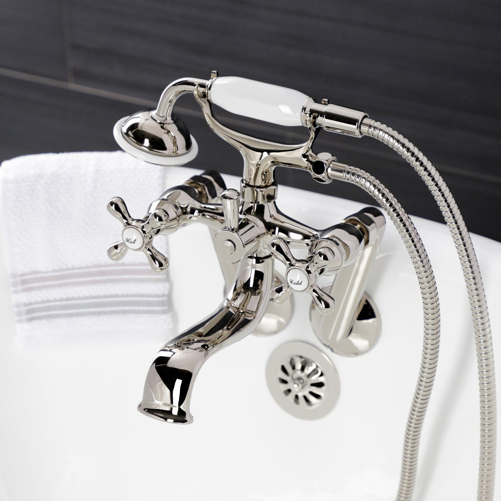 Kingston Three-Handle 2-Hole Tub Wall Mount Clawfoot Tub Faucet with Handshower