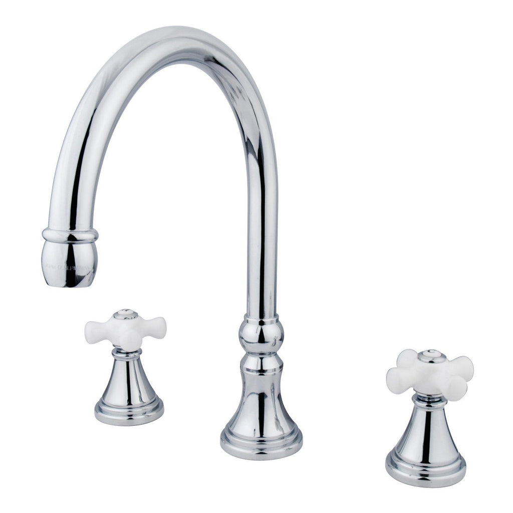 "Two Handle Two Handle 8-16"" Widespread 3-Hole Deck-Mount Roman Tub Filler Faucet w/Porcelain Cross, 7.0 gpm"