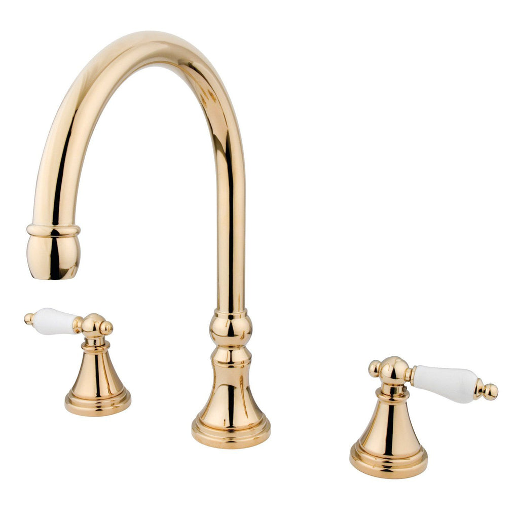 "Two Handle Two Handle 8-16"" Widespread 3-Hole Deck-Mount Roman Tub Filler Faucet w/Porcelain Lever, 7.0 gpm"