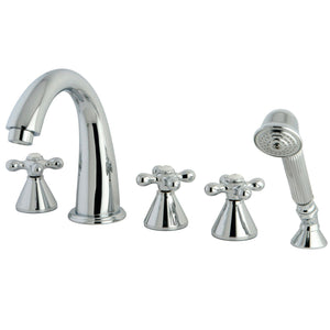 "Roman Two Handle 8-16"" Widespread 5-Hole Deck-Mount Roman Tub Filler Faucet w/Metal Lever and Hand Shower, 1.2 gpm & 7.0 gpm"