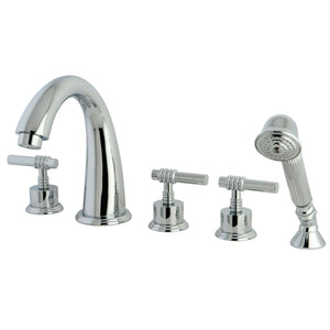 "Manhattan Two Handle 8-16"" Widespread 3-Hole Deck-Mount Roman Tub Filler Faucet w/Metal Lever and Hand Shower, 1.2 gpm & 7.0 gpm"