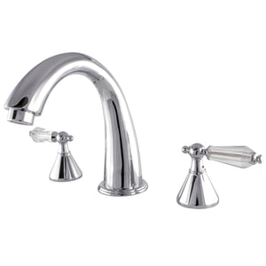 "Wilshire Two Handle 8-16"" Widespread 3-Hole Deck-Mount Roman Tub Filler Faucet w/Crystal Lever, 7.0 gpm"