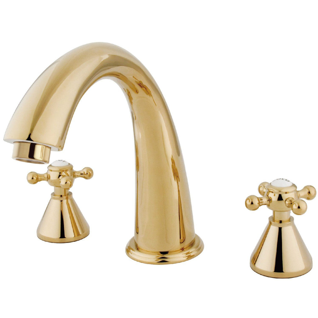 "Two Handle Two Handle 8-16"" Widespread 3-Hole Deck-Mount Roman Tub Filler Faucet w/Metal Cross, 7.0 gpm"