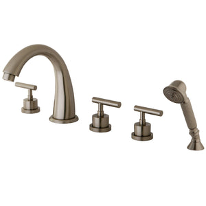 "Classic Two Handle 8-16"" Widespread 5-Hole Deck-Mount Roman Tub Filler Faucet w/Metal Lever and Hand Shower, 1.2 gpm & 7.0 gpm"