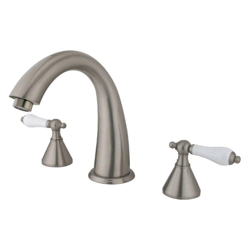 "Naples Two Handle 8-16"" Widespread 3-Hole Deck-Mount Roman Tub Filler Faucet w/Porcelain Lever, 7.0 gpm"