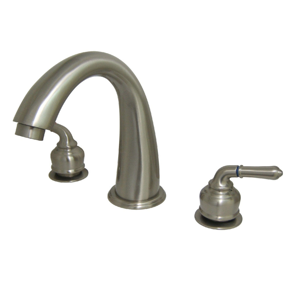 "Two Handle Two Handle 8-16"" Widespread 3-Hole Deck-Mount Roman Tub Filler Faucet w/Metal Lever, 7.0 gpm"