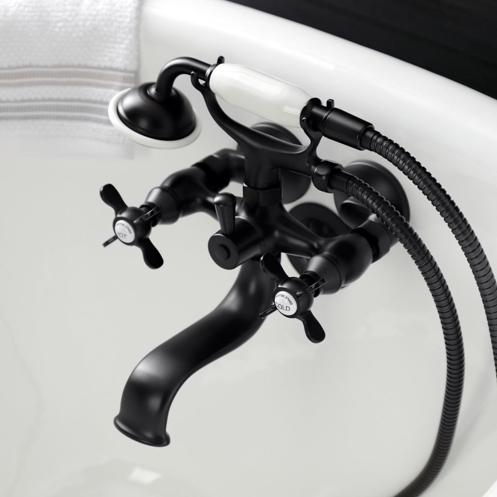 Essex Three-Handle 2-Hole Tub Wall Mount Clawfoot Tub Faucet with Handshower