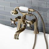 Essex Three-Handle 2-Hole Deck Mount Clawfoot Tub Faucet with Handshower