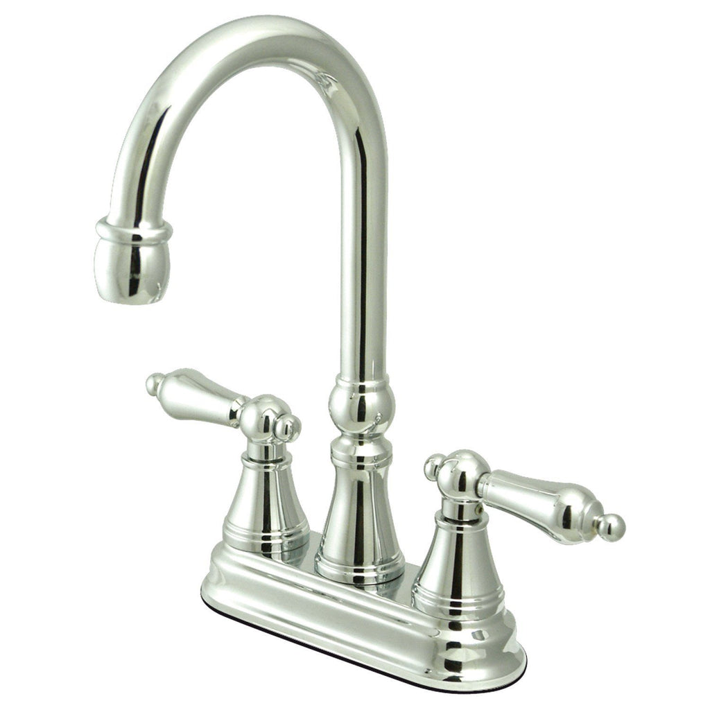 "Governor Two Handle 4"" Centerset 3-Hole Bar Prep Faucet w/Metal Lever, 1.5 gpm"