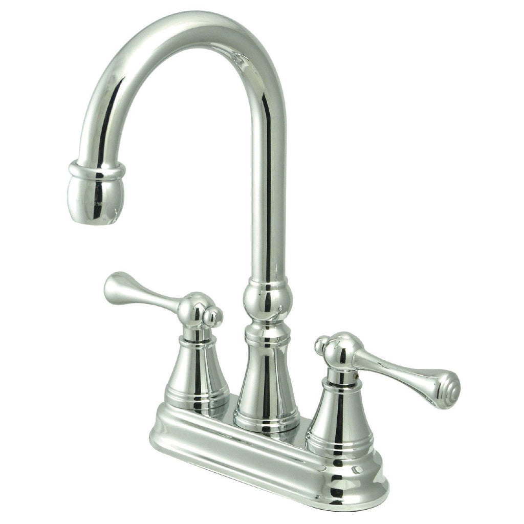 "Victorian Two Handle 4"" Centerset 3-Hole Bar Prep Faucet w/Metal Lever, 1.5 gpm"
