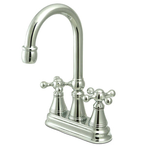 "Governor Two Handle 4"" Centerset 3-Hole Bar Prep Faucet w/Metal Cross, 1.5 gpm"