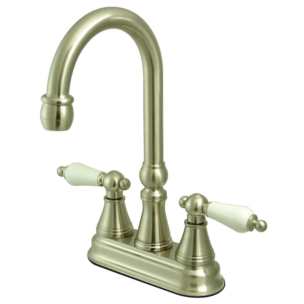 "Governor Two Handle 4"" Centerset 3-Hole Bar Prep Faucet w/Porcelain Lever, 1.5 gpm"