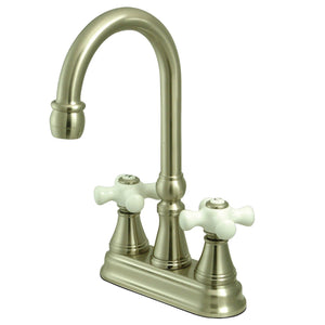 "Governor Two Handle 4"" Centerset 3-Hole Bar Prep Faucet w/Porcelain Cross, 1.5 gpm"