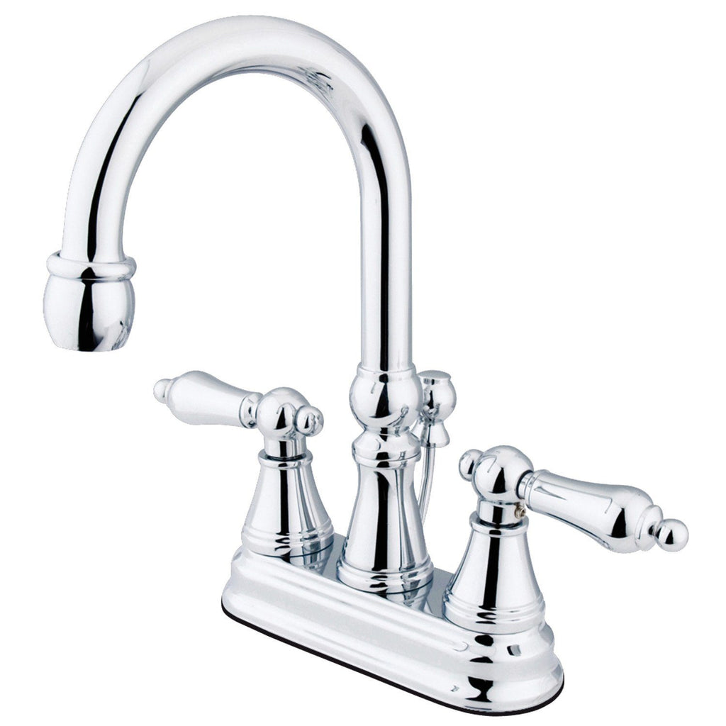 "Governor Two Handle 4"" Centerset 3-Hole Bathroom Faucet w/Metal Lever - Includes Pop-Up Drain, 1.2 gpm"