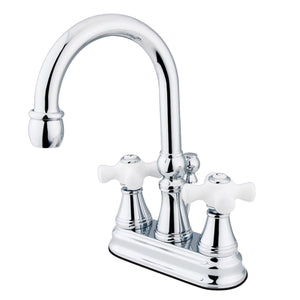 "Governor Two Handle 4"" Centerset 3-Hole Bathroom Faucet w/Porcelain Cross - Includes Pop-Up Drain, 1.2 gpm"