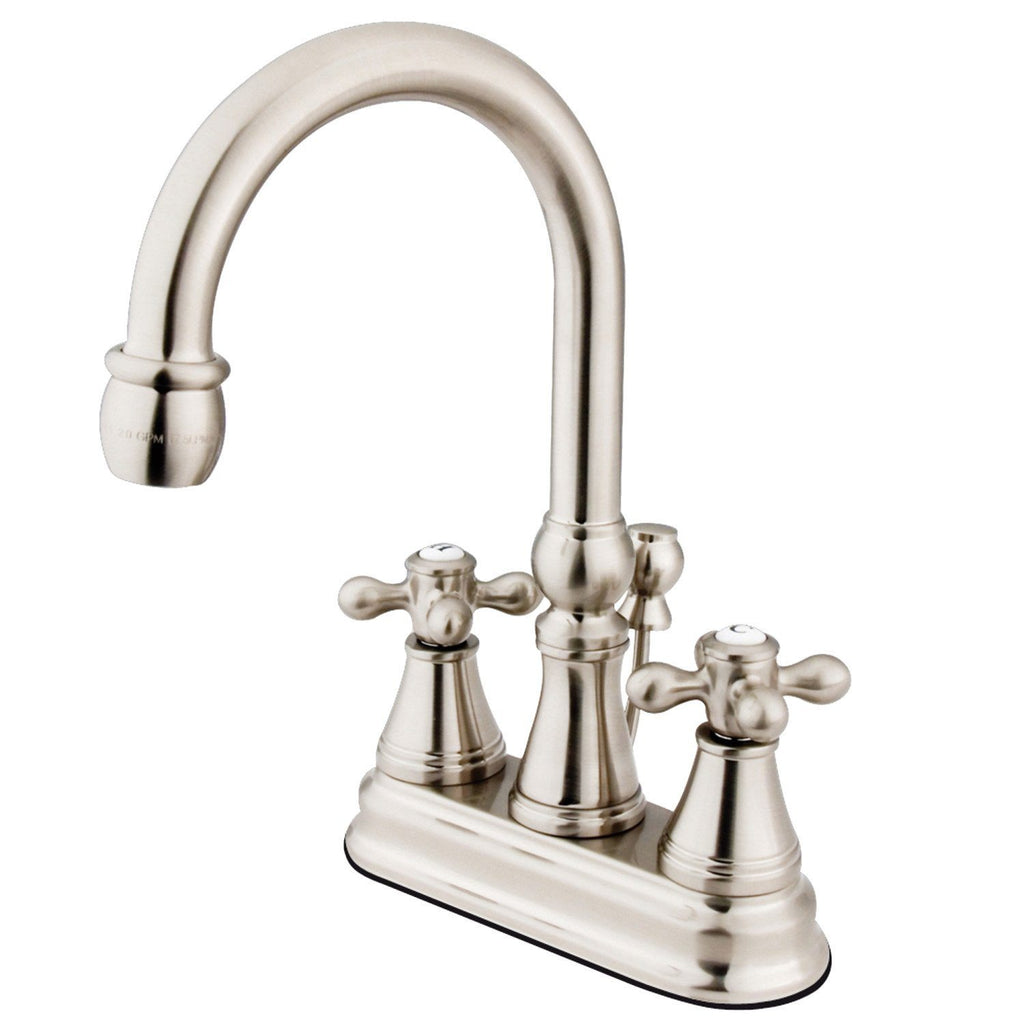 "Restoration Two Handle 4"" Centerset 3-Hole Bathroom Faucet w/Metal Cross - Includes Pop-Up Drain, 1.2 gpm"