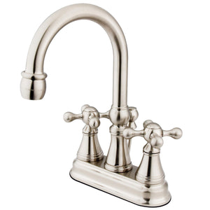 "Governor Two Handle 4"" Centerset 3-Hole Bathroom Faucet w/Metal Cross - Includes Pop-Up Drain, 1.2 gpm"