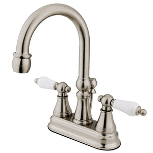 "Governor Two Handle 4"" Centerset 3-Hole Bathroom Faucet w/Porcelain Lever - Includes Pop-Up Drain, 1.2 gpm"