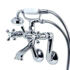"Vintage Three Handle 2-7/8"" - 15-1/2"" Adjustable Centers Wall-Mount 2-Hole Clawfoot Tub Filler Faucet w/Metal Cross and Hand Shower, 1.8 gpm & 7.0 gpm"