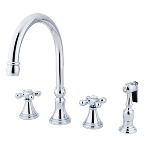 "Governor Two Handle 8-16"" 4-Hole Widespread Kitchen Faucet w/Metal Cross and Side Spray, 1.8 gpm"