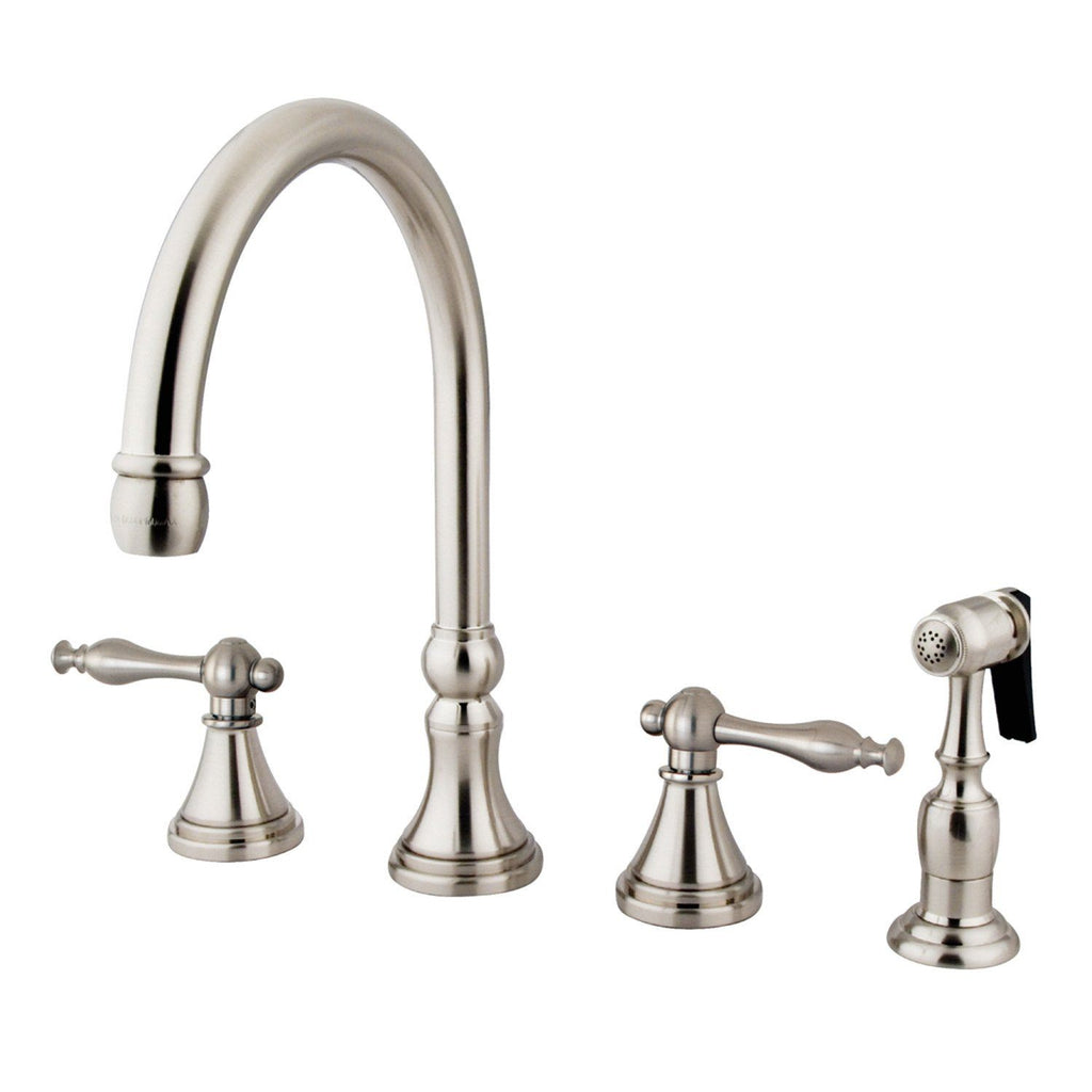 "Governor Two Handle 8-16"" 4-Hole Widespread Kitchen Faucet w/Metal Lever and Side Spray, 1.8 gpm"