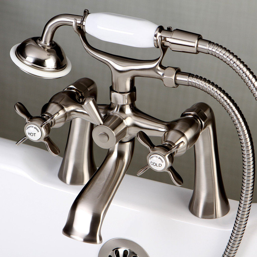 "Essex Two Handle 7"" Centers Deck-Mount 2-Hole Clawfoot Tub Filler Faucet w/Metal Cross and Hand Shower, 1.8 gpm & 7.0 gpm"