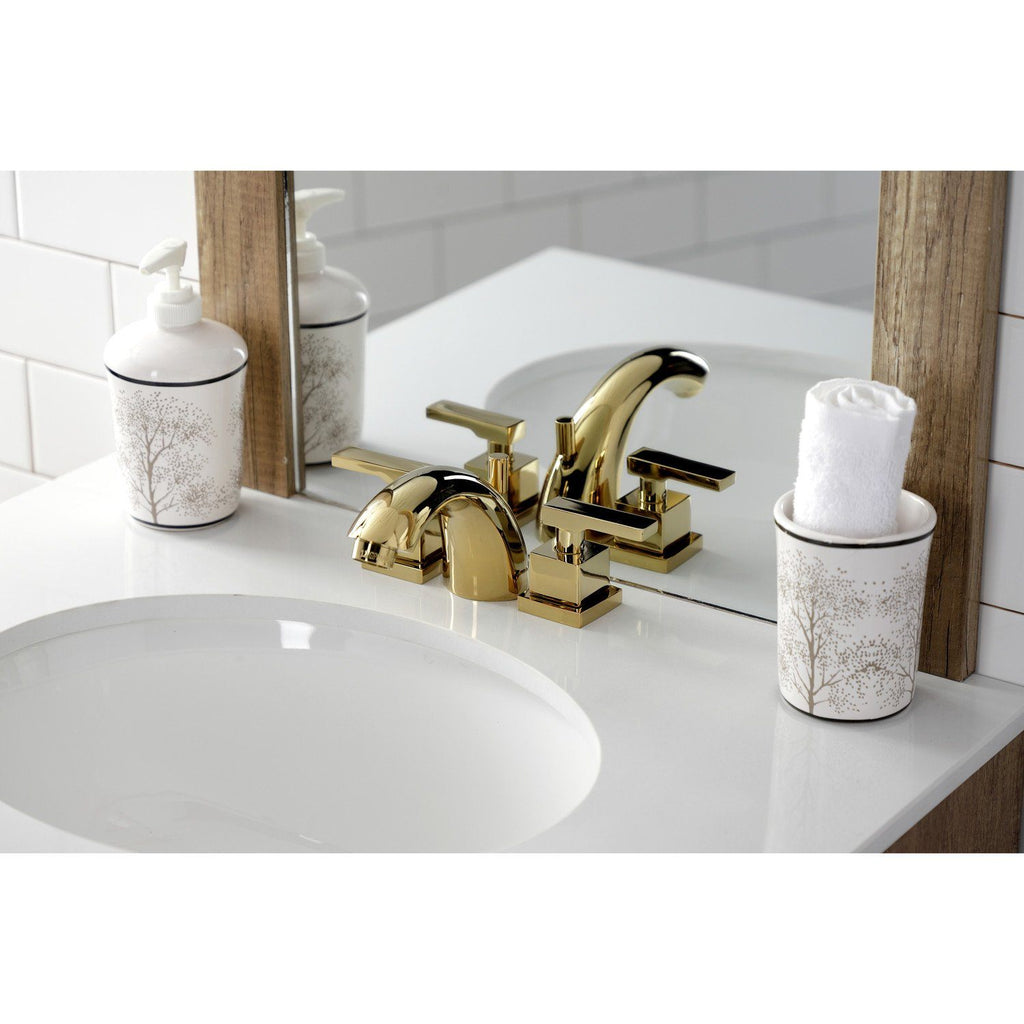 Executive Two-Handle 3-Hole Deck Mount Mini-Widespread Bathroom Faucet with Brass Pop-Up